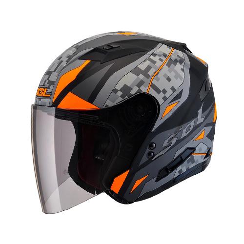 [SOL] SO-7 카모 무광블랙오렌지 오픈페이스 헬멧