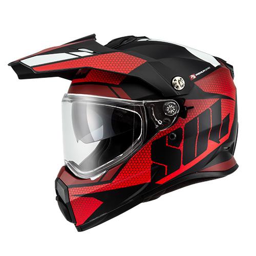 [SOL] SS-2P 램블러 무광 블랙/레드 온오프로드 듀얼 풀페이스 헬멧